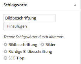 Schlagworte Tags Keywords