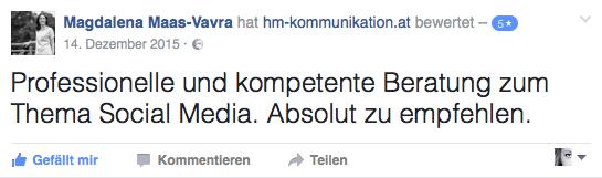 Kundenstimme Magdalena Maas-Vavra Bewertung hm-kommunikation.at